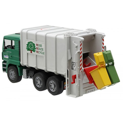 Bruder 02764 -  MAN TGA Rear Loading Garbage Truck - Green 1/16