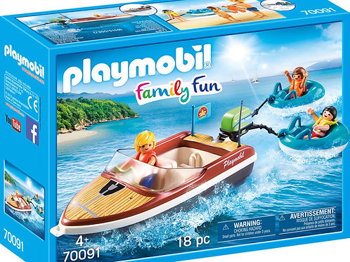 Playmobil 70091 Family Fun - Campsite Floating Speedboat with Tube Riders