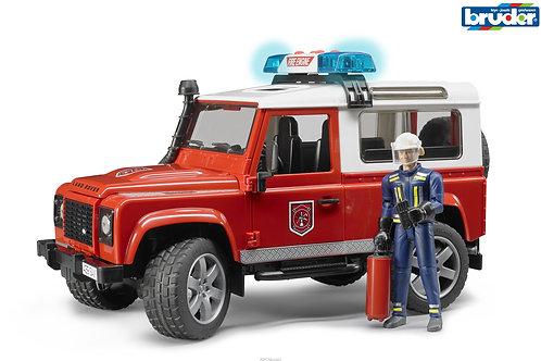 Bruder 02596 - Land Rover Defender Fire Vehicle w. Firefighter 1/16