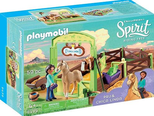 Playmobil 9479 Spirit - Spirit 9479 Pferdebox Pru und Chica Linda