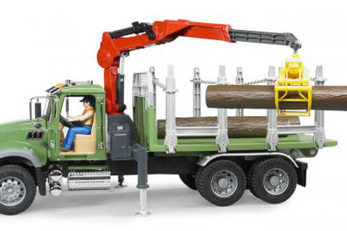 Bruder 02824 - MACK Granite Timber Truck with Loading Crane