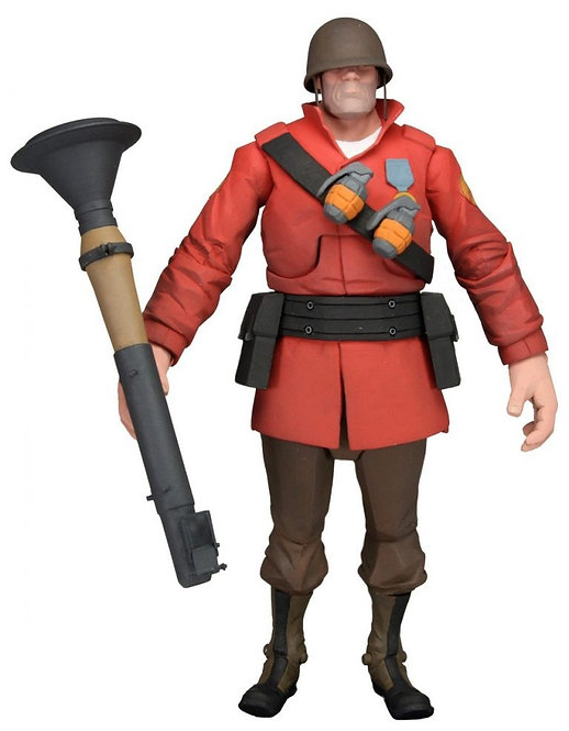 """Official NECA Valve TeamFortress2: 7""""The Soldier Ultra Deluxe Action Figure(Red)"""