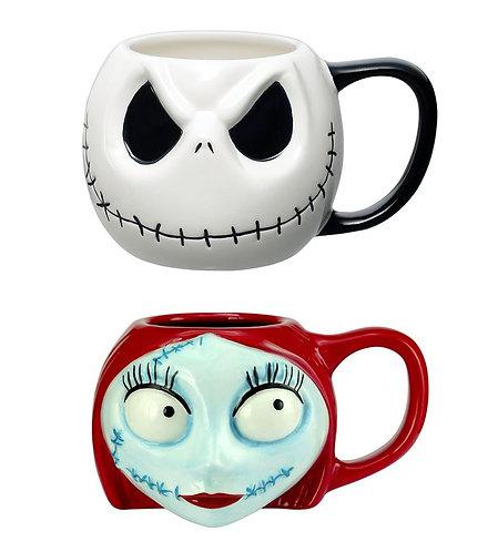 The Nightmare Before Christmas: Jack Skellington & Sally Head Mugs Set