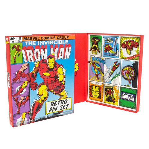 Official Marvel Iron Man Retro Pin Badge Set