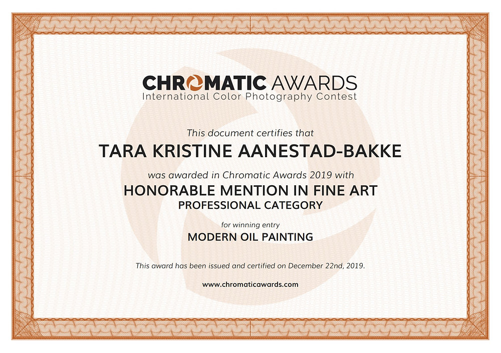 Certificate for honorable mention in fin art
