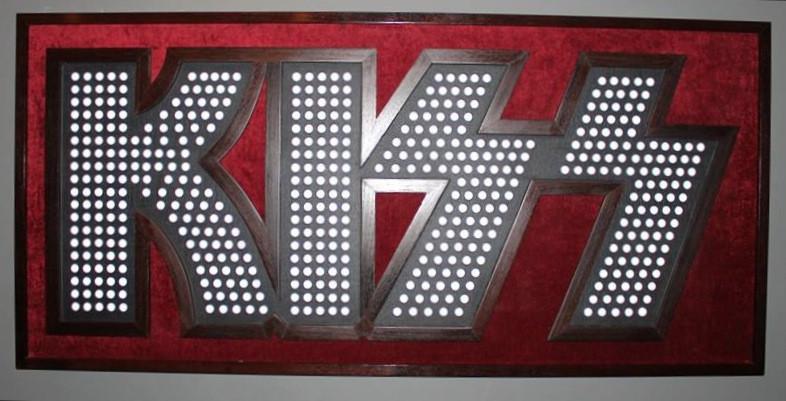 Custom Kiss light-up art piece created by Karp Designs