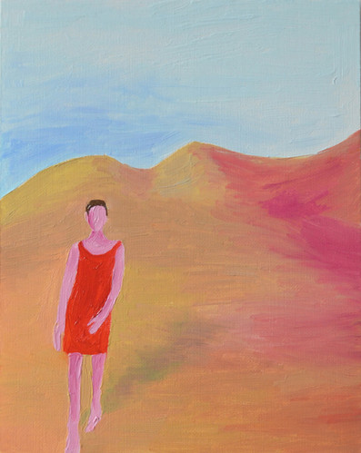 Woman in red dress, 2019