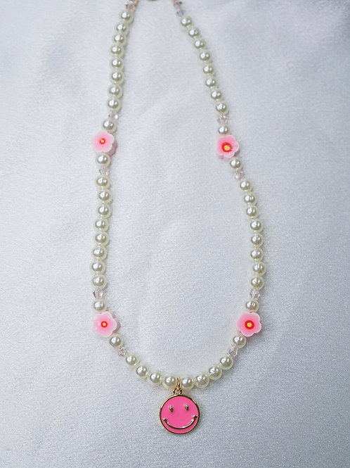 Blossom Hot Pink Smiley Necklace