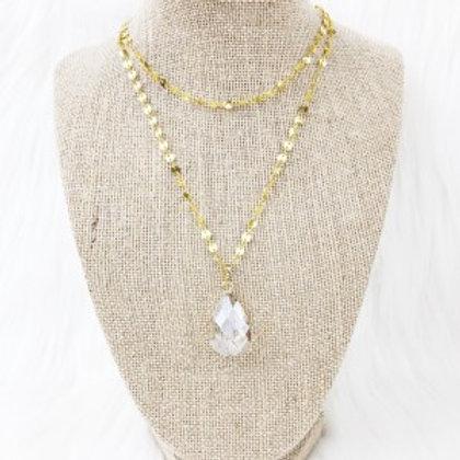 Crystal Sequin Teardrop Necklace