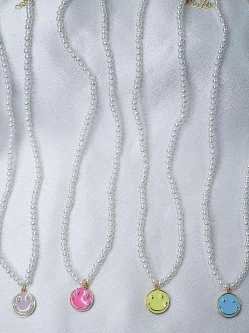 Pearl Neon Smiley Necklaces