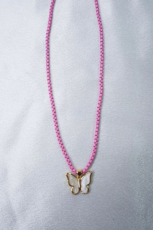 Neon Pink Butterfly Necklace