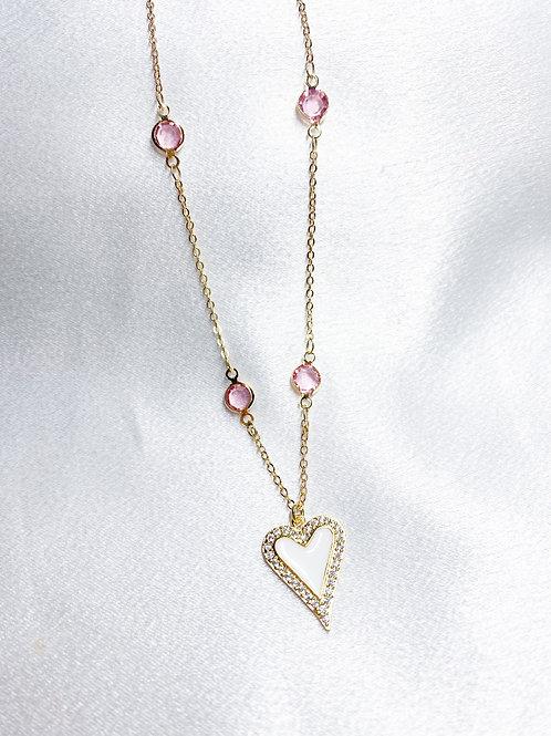 Pink Diamond Heart Necklace