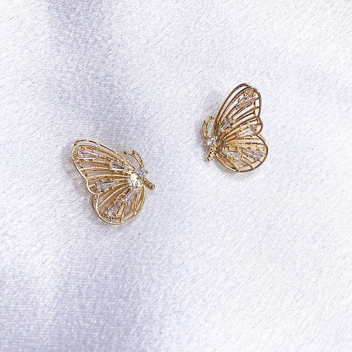 Gold Butterfly Love Studs