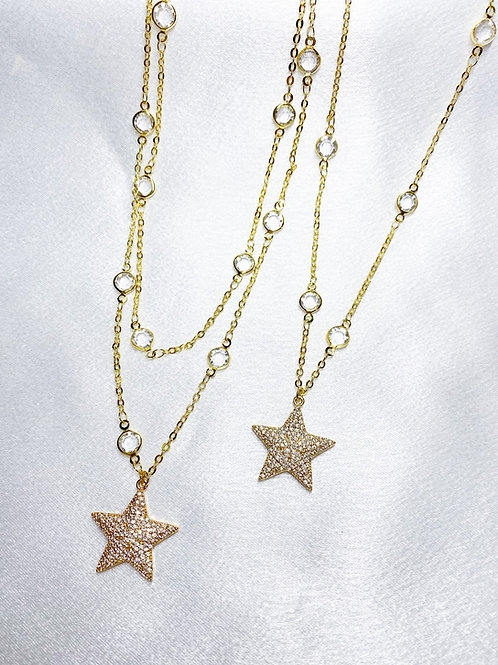 Gold Diamond Star Necklaces