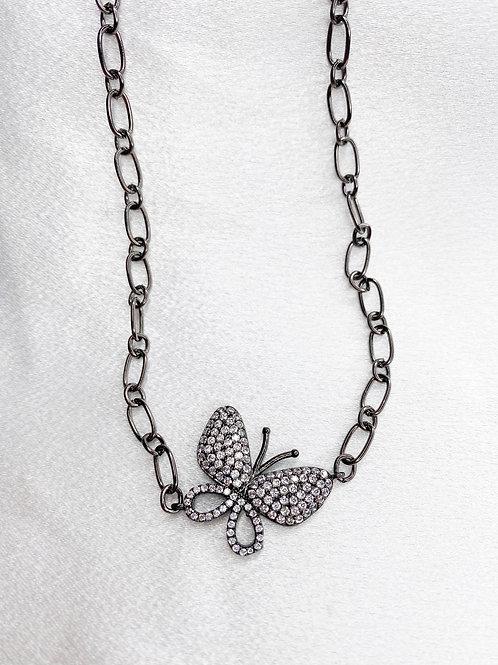 Gunmetal Butterfly Necklace