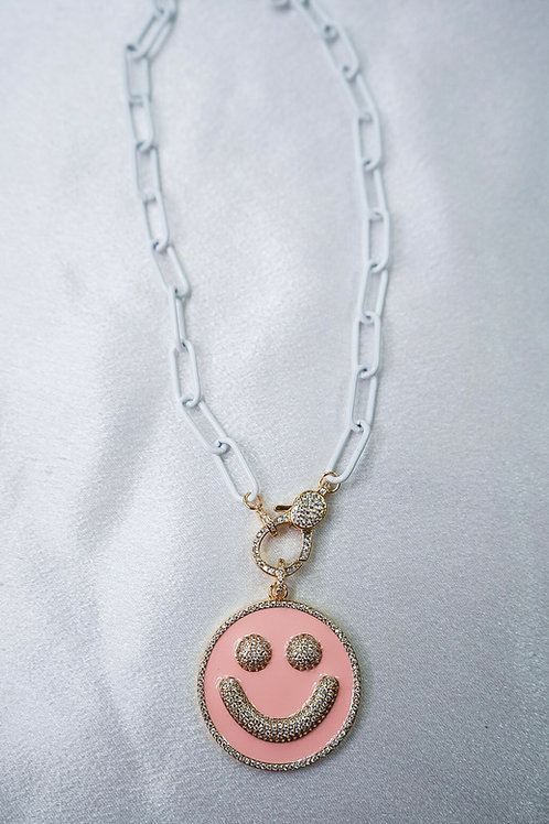 White Large Smiley Necklace