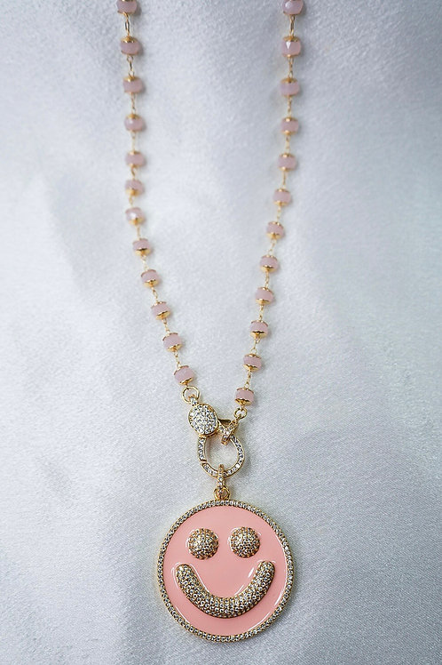 Light Pink Large Smiley Necklace