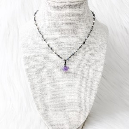 Mixed Gray Purple Star Necklace