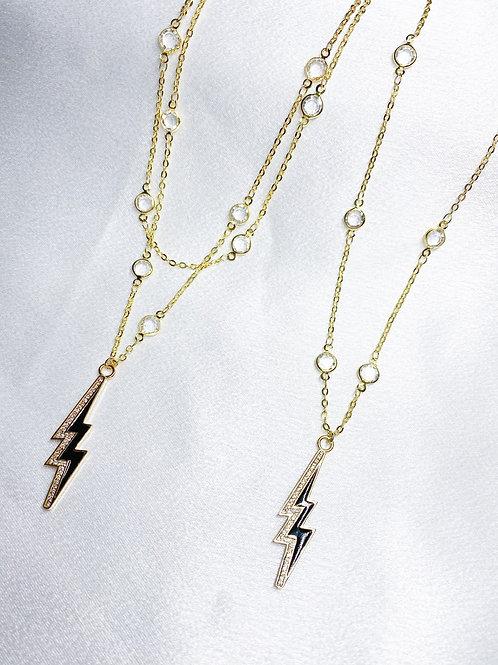 Black Lightning Bolt Necklaces