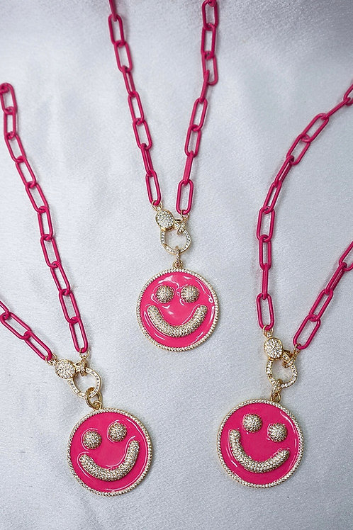 Hot Pink Large Smiley Face Necklace