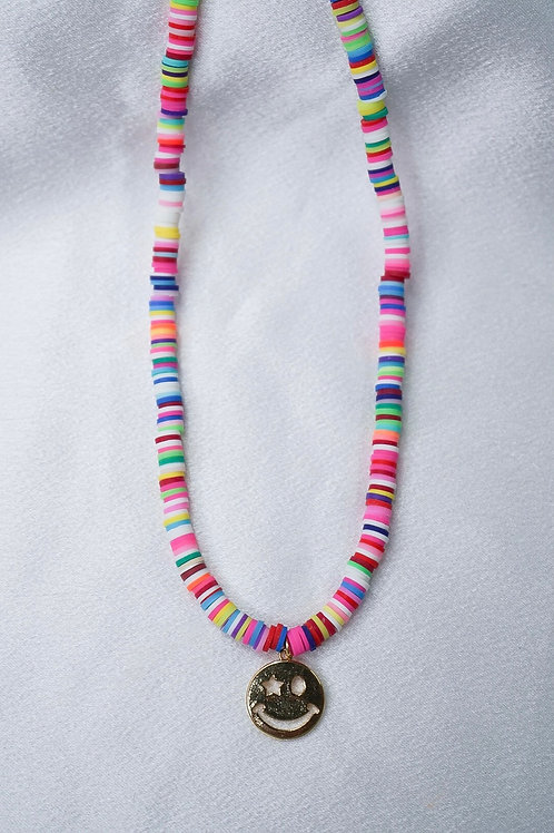 Rainbow Gold Smiley Necklace
