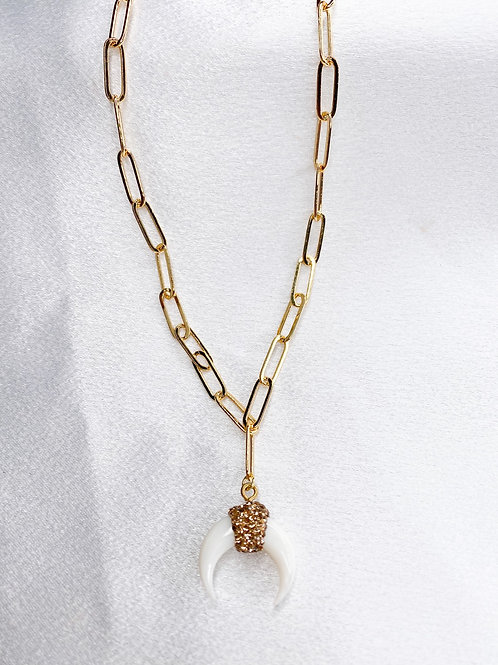 Gold Rhinestone Horn Necklace