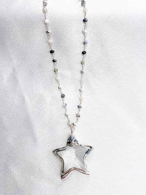 Mixed White Crystal Star Necklace