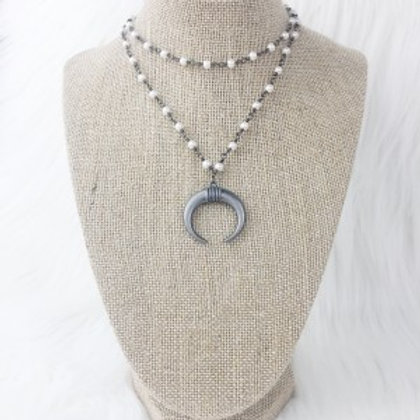 Gunmetal Pearl Horn Necklace