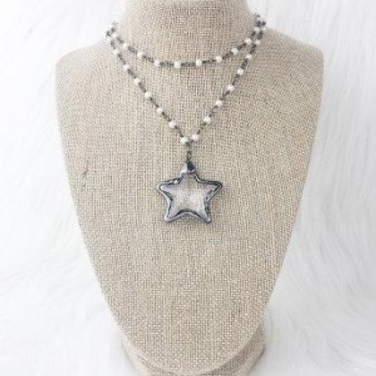 Gunmetal Crystal Star Necklace