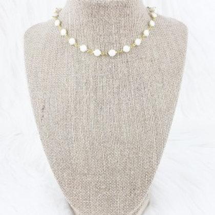 White Flat Bead Choker