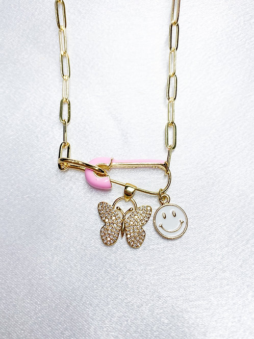 Smiley Butterfly Necklace
