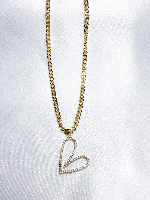 Cuban Chain Heart Necklace