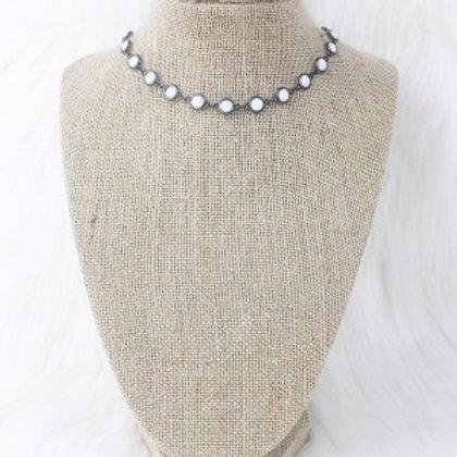 Gunmetal Flat Beaded Necklace