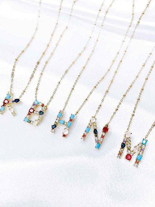 Rainbow Inital Necklace