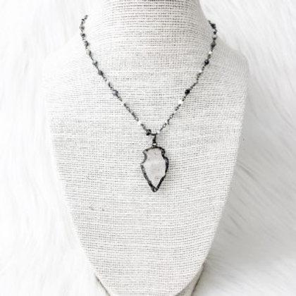 Mixed Grey Arrowhead Necklace