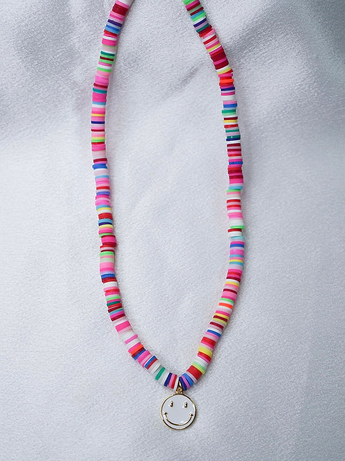 Rainbow White Smiley Necklace