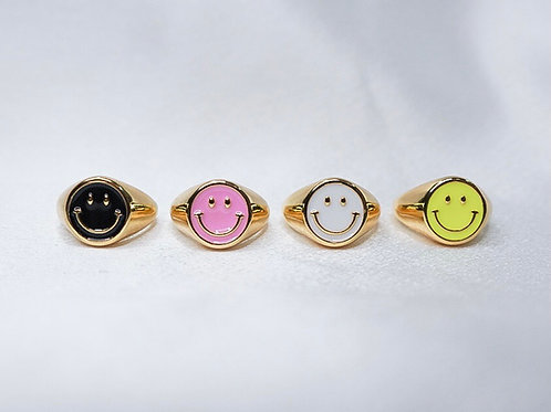 Neon Smiley Rings