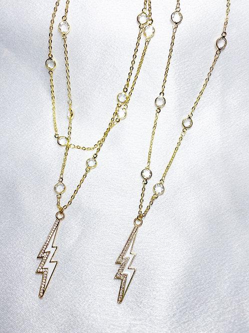White Lightning Bolt Necklaces