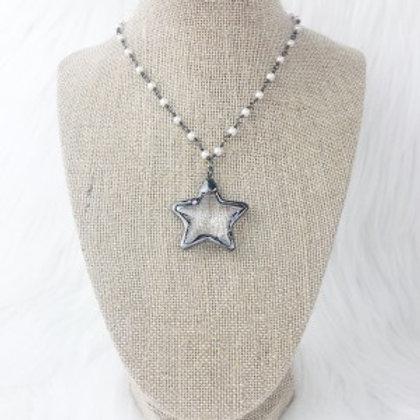 Gunmetal Pearl Crystal Star Necklace