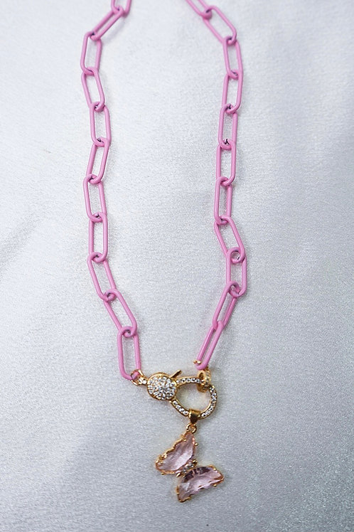 Baby Pink Butterfly Clasp Necklace