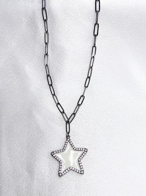 Gunmetal White Star Necklace