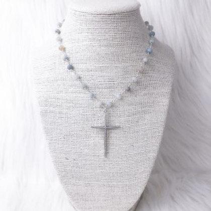 Silver Multicolored Cross Necklace