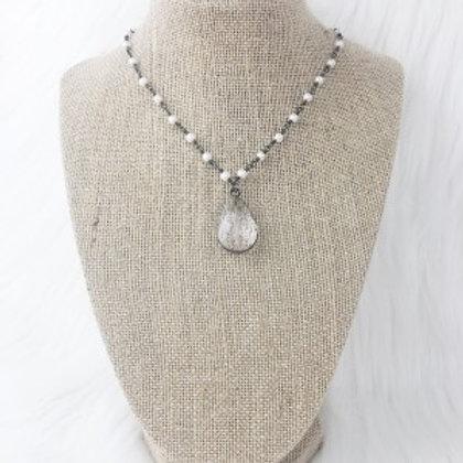 Gunmetal Pearl Crystal Necklace