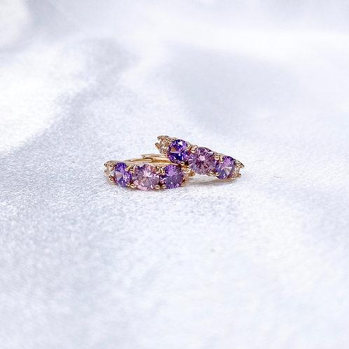 Purple Rock Star Huggie Hoops