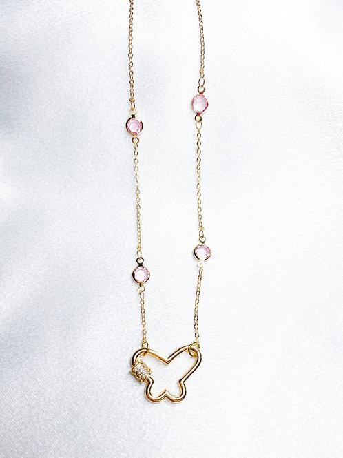 Pink Diamond Butterfly Necklace