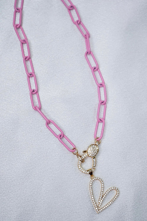Baby Pink Heart Clasp Necklace