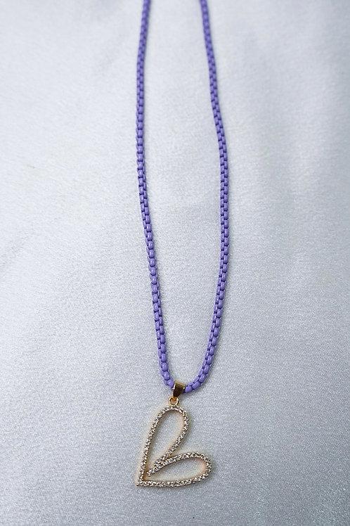 Neon Purple Heart Necklace
