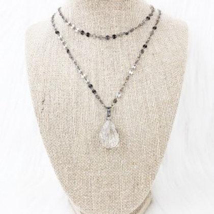 Gunmetal Crystal Teardrop Necklace