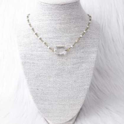 Howlite Rectangle Crystal Necklace