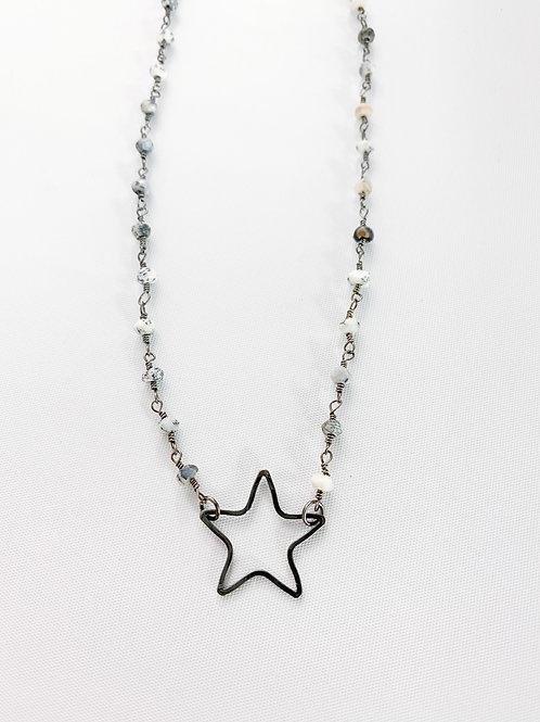 Mixed Gray Hollow Star Single